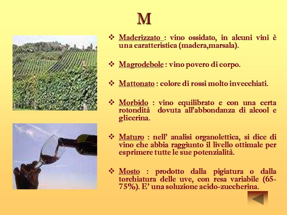M Maderizzato : vino ossidato, in alcuni vini è una caratteristica (madera,marsala). Magrodebole : vino povero di corpo. Mattonato : colore di rossi m