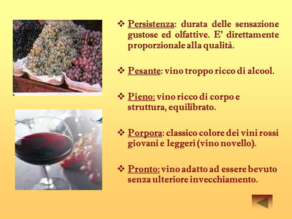 Persistenza: durata delle sensazione gustose ed olfattive. E direttamente proporzionale alla qualità. Pesante: vino troppo ricco di alcool. Pieno: vin