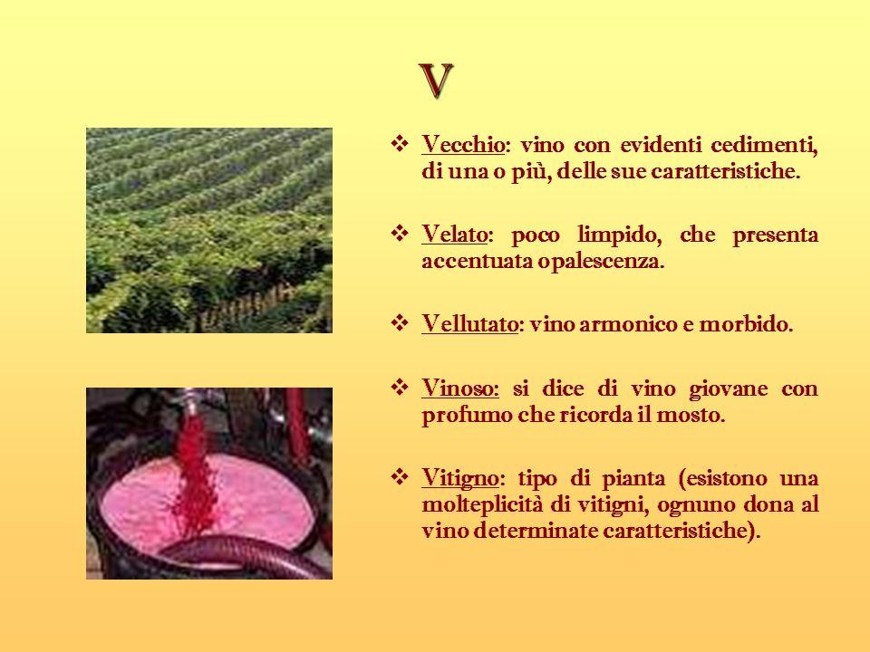 V Vecchio: vino con evidenti cedimenti, di una o più, delle sue caratteristiche. Velato: poco limpido, che presenta accentuata opalescenza. Vellutato: