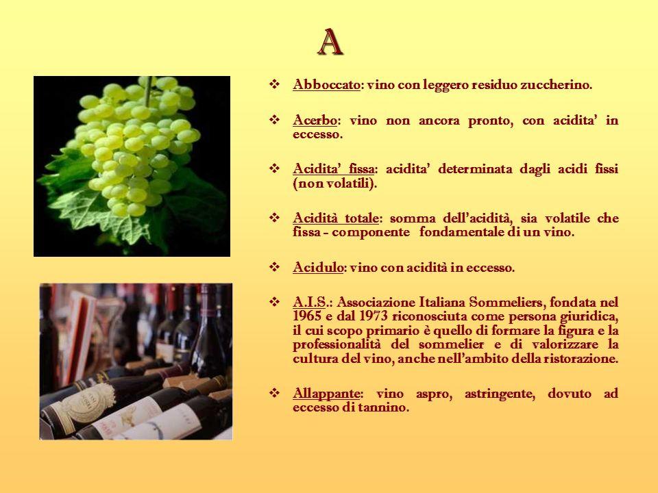 A Abboccato: vino con leggero residuo zuccherino. Acerbo: vino non ancora pronto, con acidita in eccesso. Acidita fissa: acidita determinata dagli aci