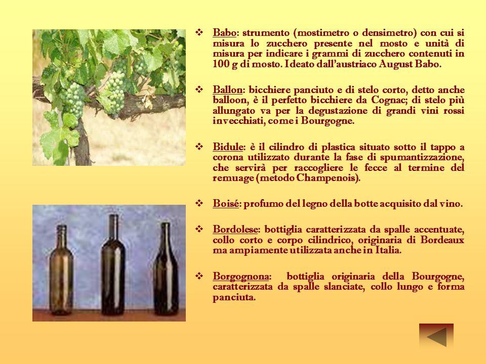 V Vecchio: vino con evidenti cedimenti, di una o più, delle sue caratteristiche.