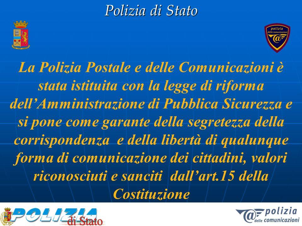 Polizia di Stato Decreto Ministero dellInterno 31 Marzo 1998 ha istituito il Servizio Polizia Postale e delle Comunicazioni Coordinamento operativo dei Compartimenti Sicurezza delle comunicazioni Analisi ed eleborazione di strategie Rapporti internazionali
