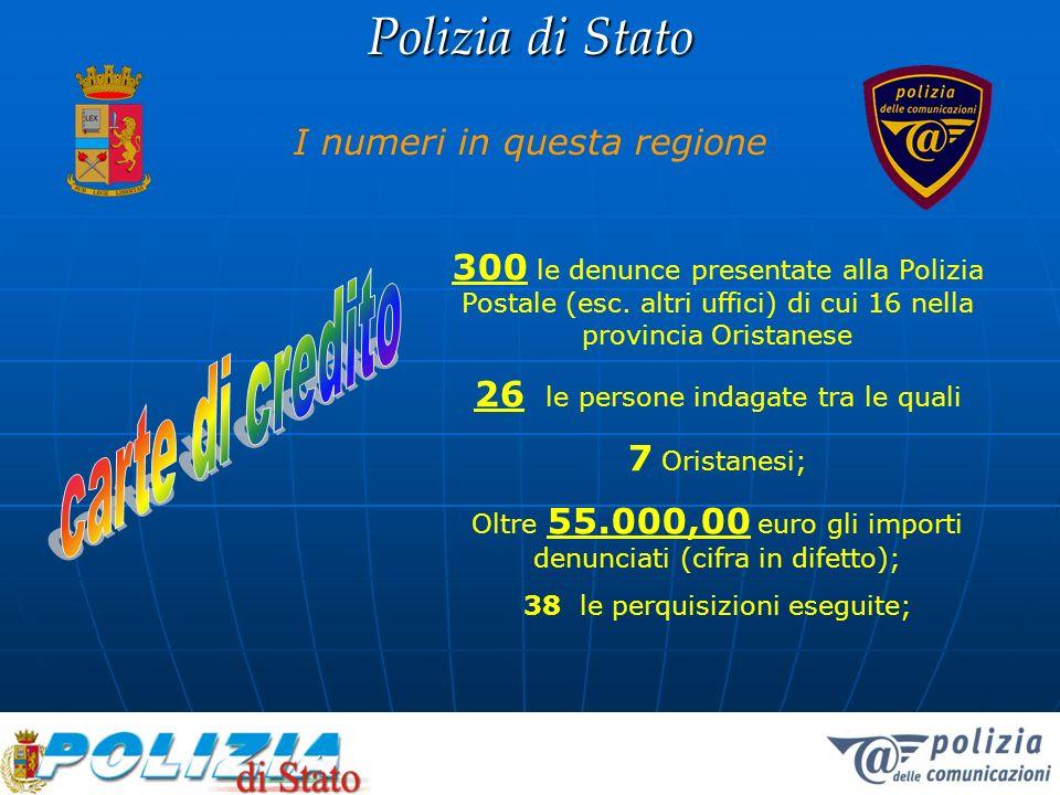 Polizia di Stato I numeri in questa regione 300 le denunce presentate alla Polizia Postale (esc. altri uffici) di cui 16 nella provincia Oristanese 26