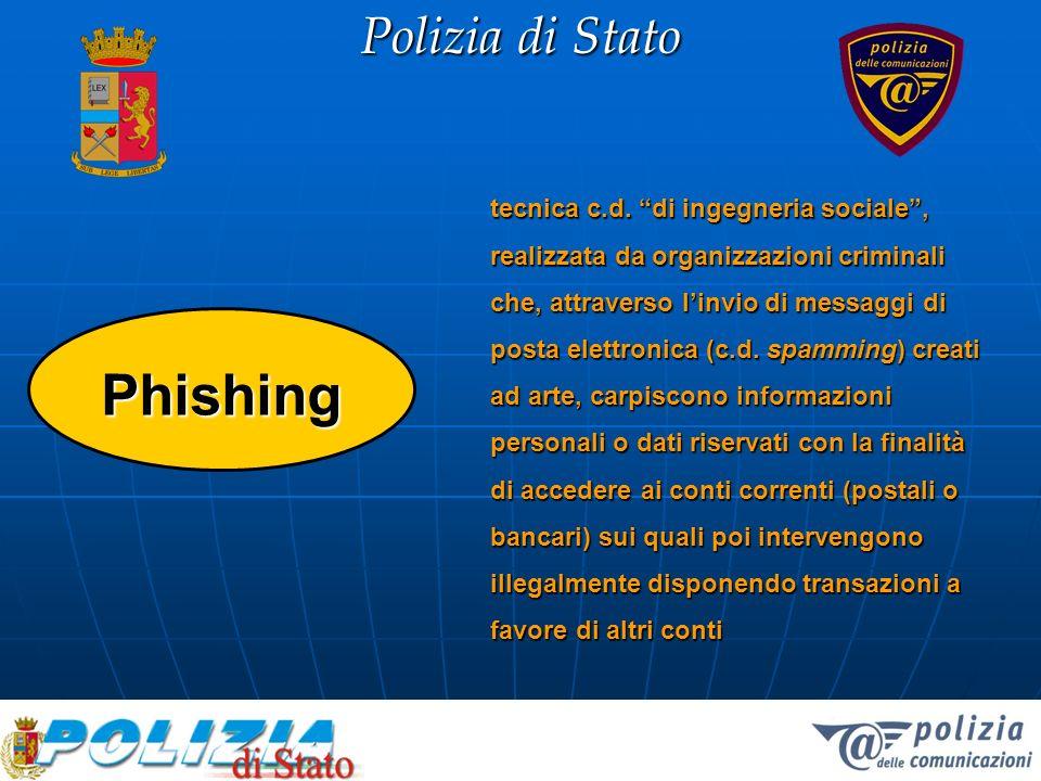 Polizia di Stato Phishing tecnica c.d. di ingegneria sociale, realizzata da organizzazioni criminali che, attraverso linvio di messaggi di posta elett