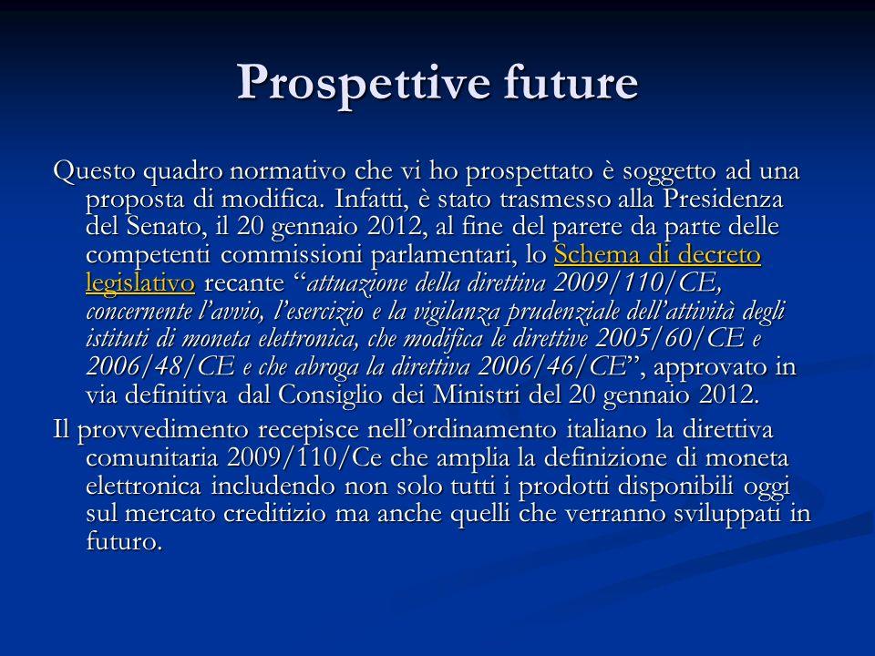 Prospettive future Questo quadro normativo che vi ho prospettato è soggetto ad una proposta di modifica. Infatti, è stato trasmesso alla Presidenza de