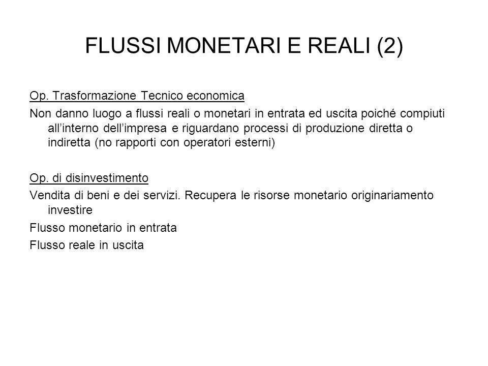 FLUSSI MONETARI E REALI (2) Op. Trasformazione Tecnico economica Non danno luogo a flussi reali o monetari in entrata ed uscita poiché compiuti allint