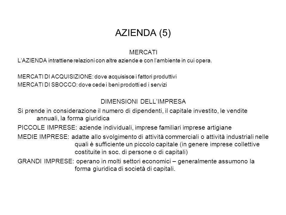AZIENDA (5) MERCATI LAZIENDA intrattiene relazioni con altre aziende e con lambiente in cui opera. MERCATI DI ACQUISIZIONE: dove acquisisce i fattori