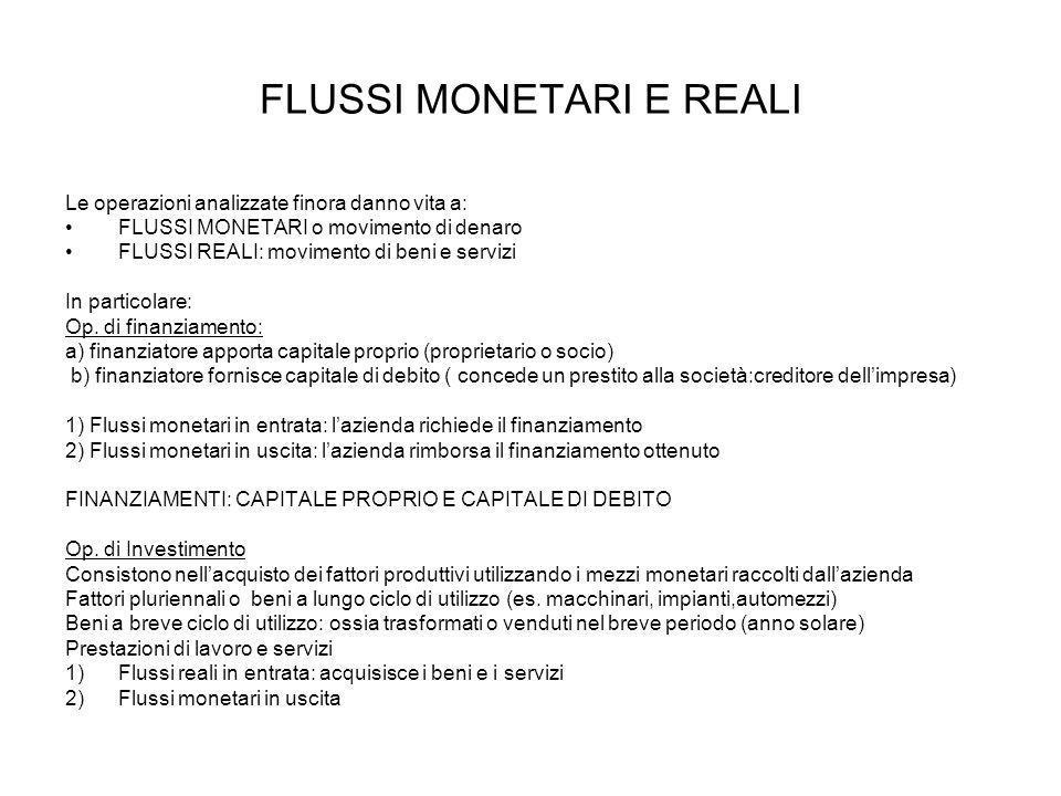 FLUSSI MONETARI E REALI Le operazioni analizzate finora danno vita a: FLUSSI MONETARI o movimento di denaro FLUSSI REALI: movimento di beni e servizi In particolare: Op.