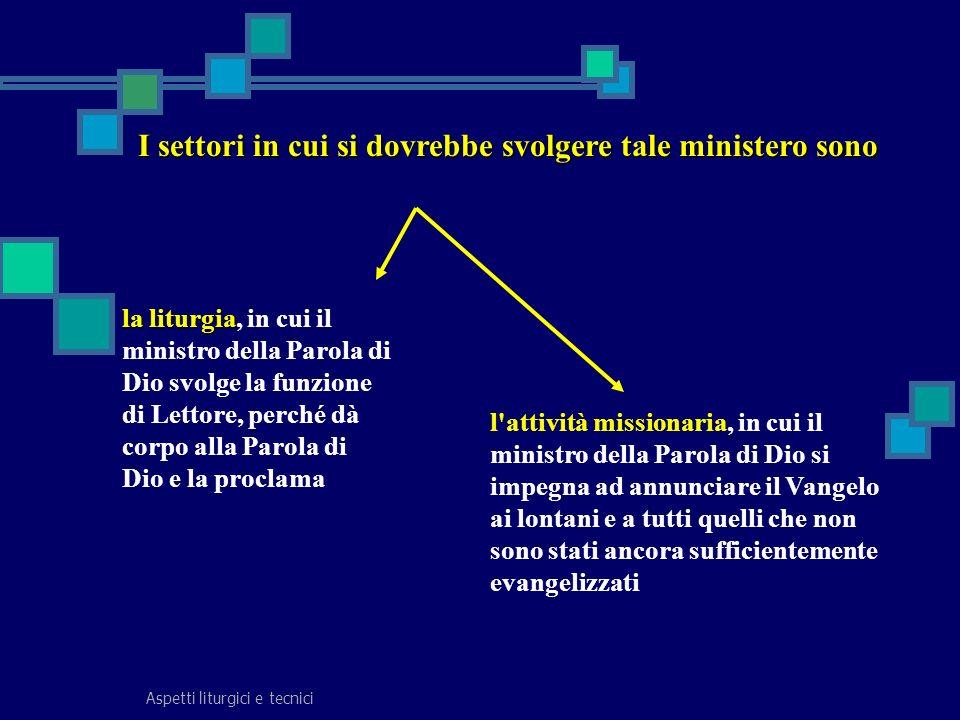 Aspetti liturgici e tecnici I settori in cui si dovrebbe svolgere tale ministero sono la liturgia la liturgia, in cui il ministro della Parola di Dio