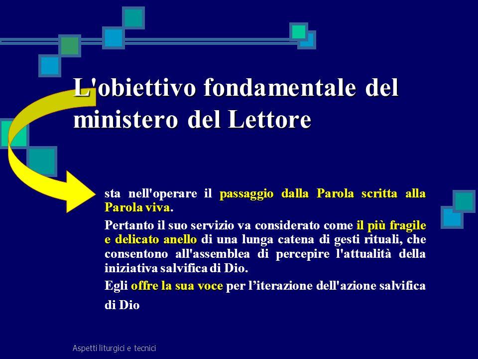 Aspetti liturgici e tecnici passaggio dalla Parola scritta alla Parola viva sta nell'operare il passaggio dalla Parola scritta alla Parola viva. il pi