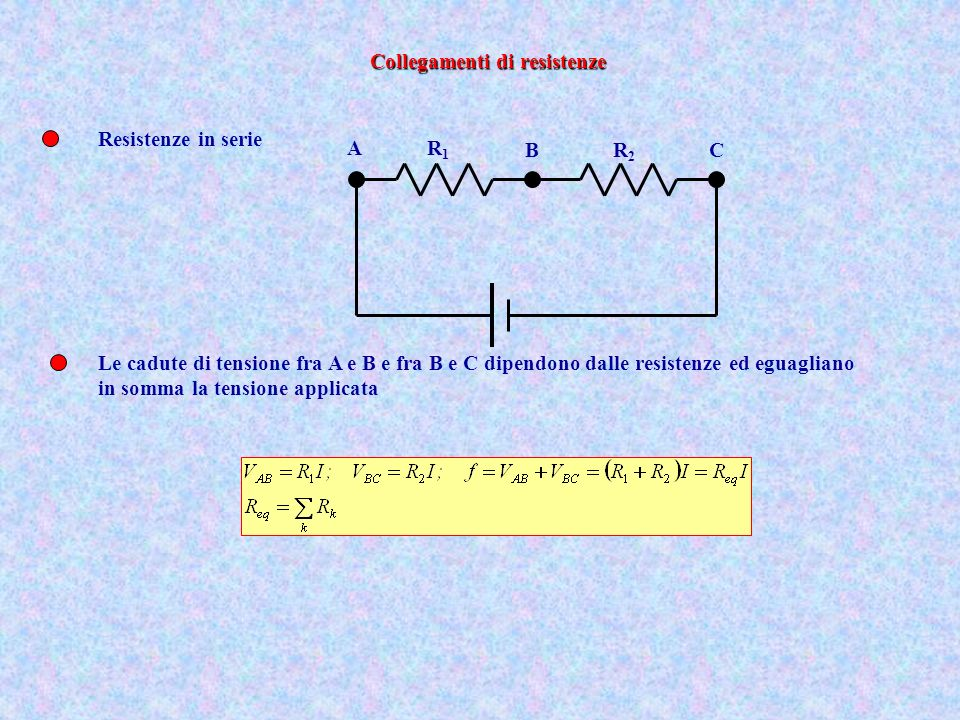 Resistenze in serie R1R1 R2R2 A BC Le cadute di tensione fra A e B e fra B e C dipendono dalle resistenze ed eguagliano in somma la tensione applicata