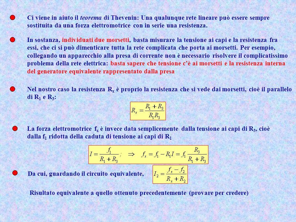 Ci viene in aiuto il teorema di Thevenin: Una qualunque rete lineare può essere sempre sostituita da una forza elettromotrice con in serie una resiste
