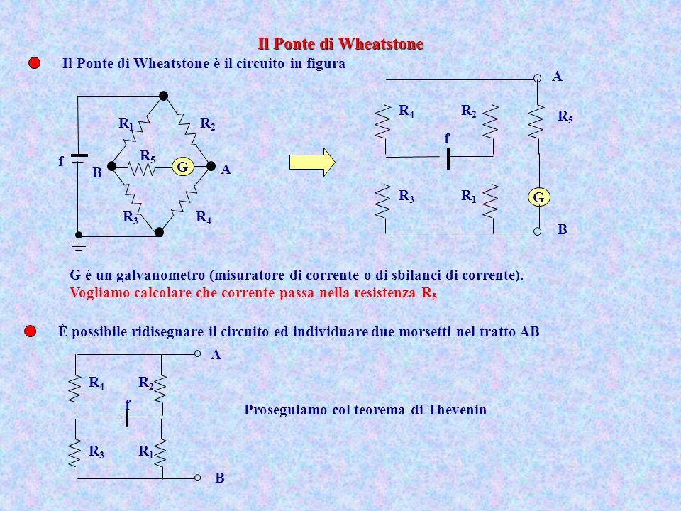 Il Ponte di Wheatstone è il circuito in figura f G B A R2R2 R1R1 R4R4 R3R3 R5R5 G è un galvanometro (misuratore di corrente o di sbilanci di corrente)