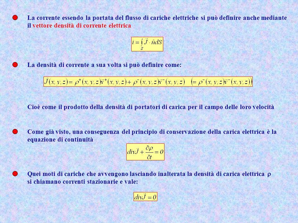 La corrente essendo la portata del flusso di cariche elettriche si può definire anche mediante il vettore densità di corrente elettrica La densità di