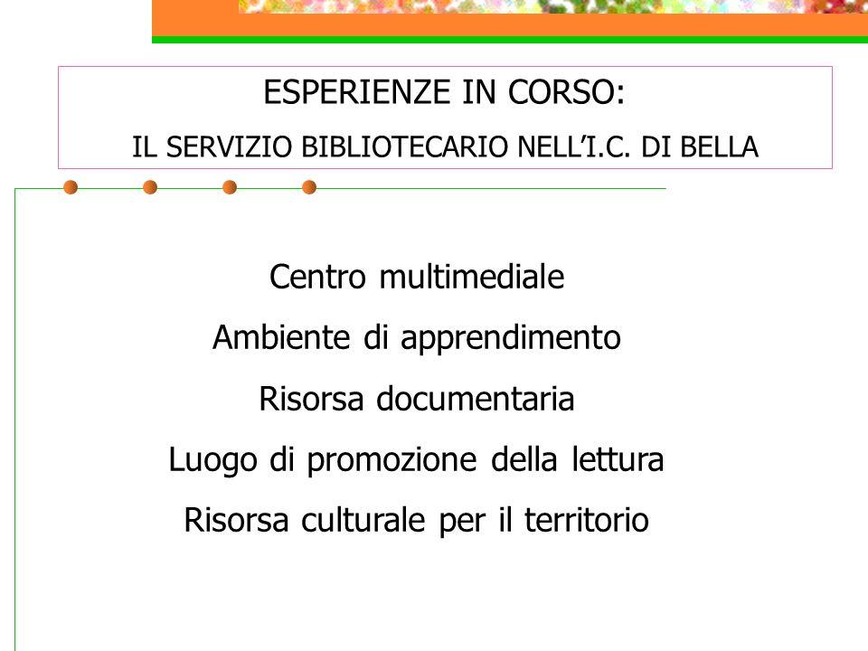 ESPERIENZE IN CORSO: IL SERVIZIO BIBLIOTECARIO NELLI.C. DI BELLA Centro multimediale Ambiente di apprendimento Risorsa documentaria Luogo di promozion