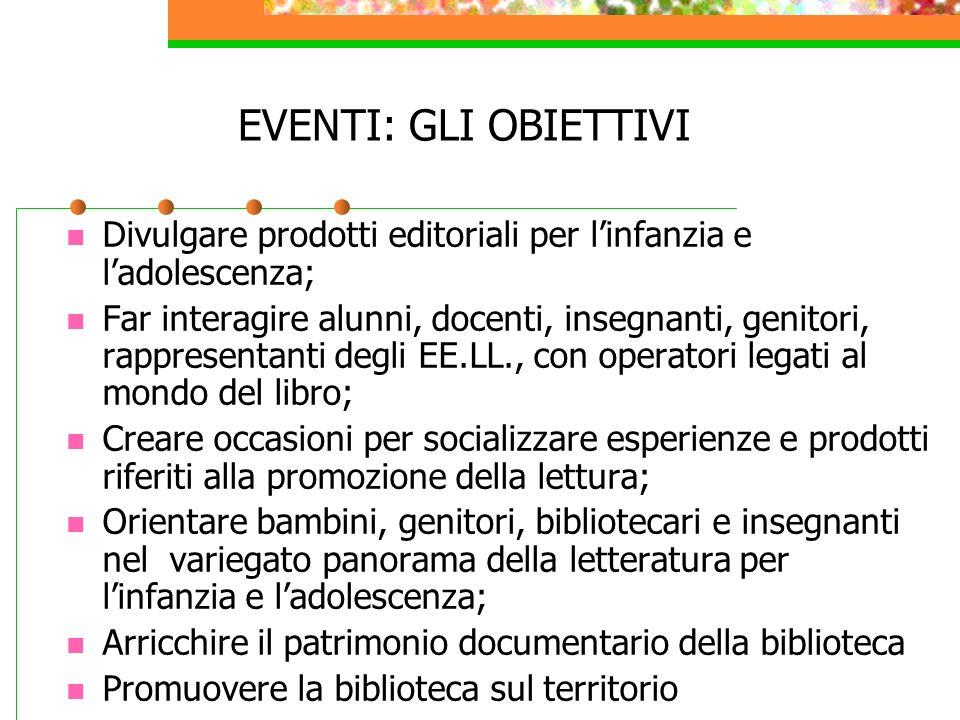 EVENTI: GLI OBIETTIVI Divulgare prodotti editoriali per linfanzia e ladolescenza; Far interagire alunni, docenti, insegnanti, genitori, rappresentanti