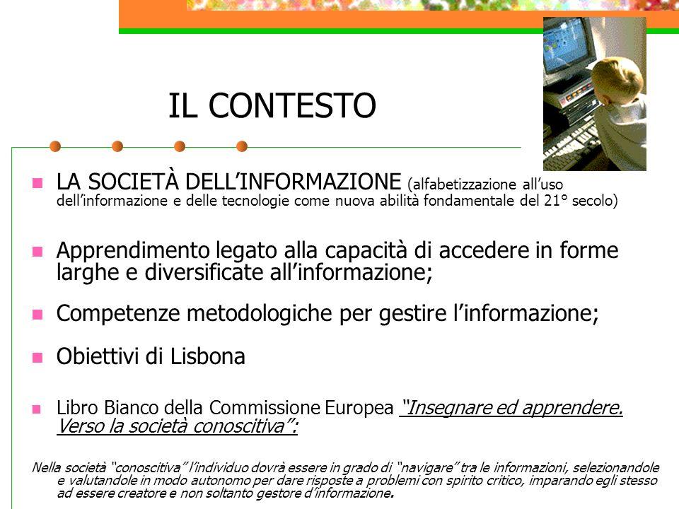 IL CONTESTO LA SOCIETÀ DELLINFORMAZIONE (alfabetizzazione alluso dellinformazione e delle tecnologie come nuova abilità fondamentale del 21° secolo) A