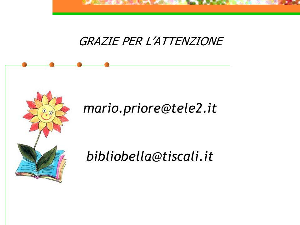 GRAZIE PER LATTENZIONE mario.priore@tele2.it bibliobella@tiscali.it