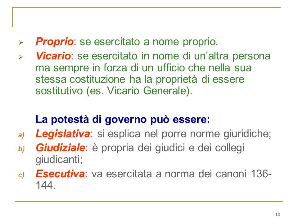 10 Il potere di governo ordinario può essere: Proprio: se esercitato a nome proprio. Vicario: se esercitato in nome di unaltra persona ma sempre in fo