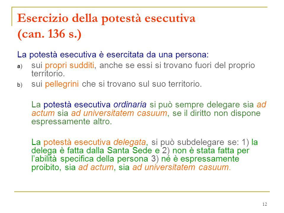 12 Esercizio della potestà esecutiva (can. 136 s.) La potestà esecutiva è esercitata da una persona: a) sui propri sudditi, anche se essi si trovano f