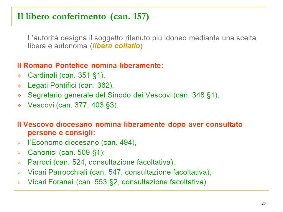 20 Il libero conferimento (can. 157) Lautorità designa il soggetto ritenuto più idoneo mediante una scelta libera e autonoma (libera collatio). Il Rom