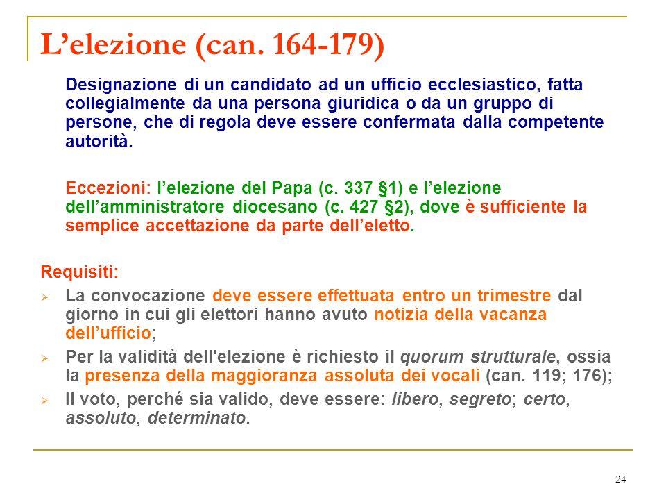 24 Lelezione (can. 164-179) Designazione di un candidato ad un ufficio ecclesiastico, fatta collegialmente da una persona giuridica o da un gruppo di