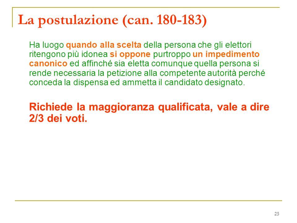 25 La postulazione (can. 180-183) Ha luogo quando alla scelta della persona che gli elettori ritengono più idonea si oppone purtroppo un impedimento c