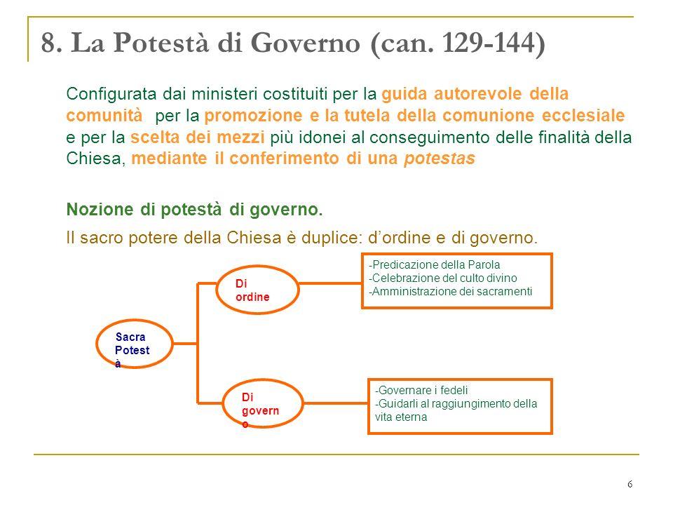 6 8. La Potestà di Governo (can. 129-144) Configurata dai ministeri costituiti per la guida autorevole della comunità, per la promozione e la tutela d