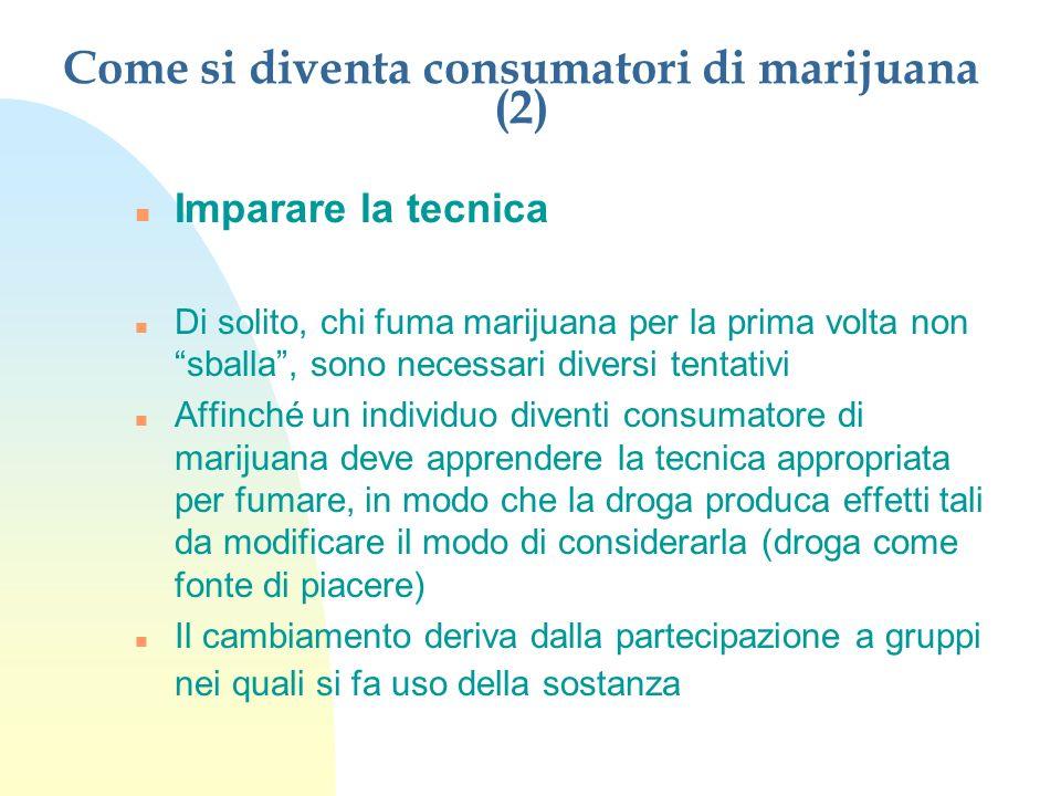 Come si diventa consumatori di marijuana (2) n Imparare la tecnica n Di solito, chi fuma marijuana per la prima volta non sballa, sono necessari diver