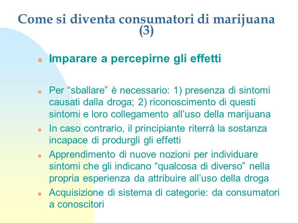 Come si diventa consumatori di marijuana (3) n Imparare a percepirne gli effetti n Per sballare è necessario: 1) presenza di sintomi causati dalla dro