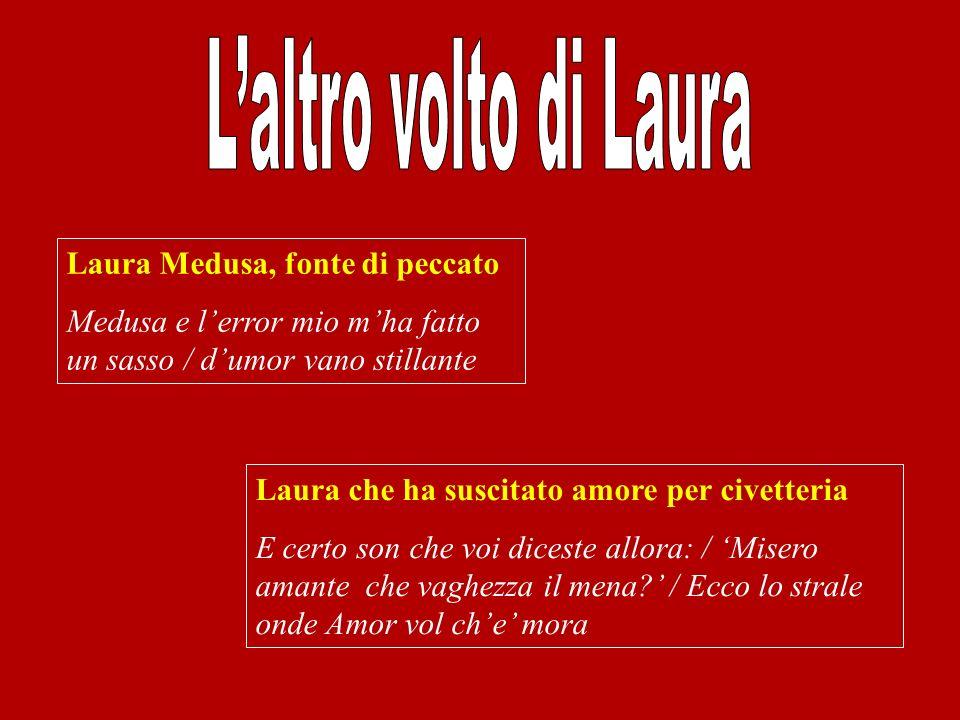 Laura Medusa, fonte di peccato Medusa e lerror mio mha fatto un sasso / dumor vano stillante Laura che ha suscitato amore per civetteria E certo son c