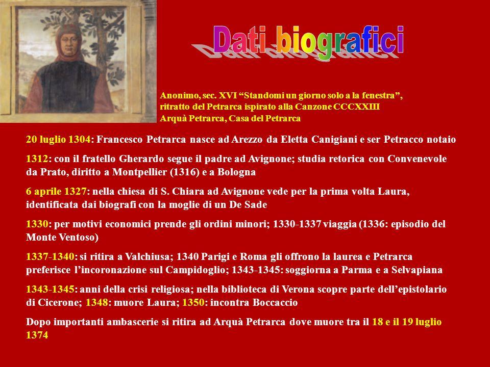 Anonimo, sec. XVI Standomi un giorno solo a la fenestra, ritratto del Petrarca ispirato alla Canzone CCCXXIII Arquà Petrarca, Casa del Petrarca 20 lug