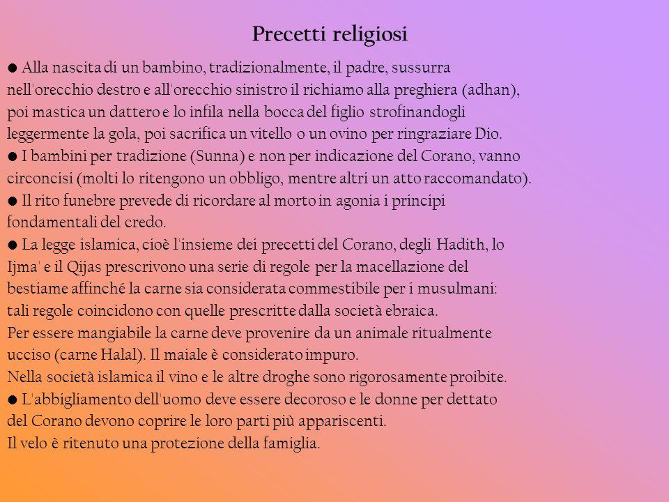 Precetti religiosi Alla nascita di un bambino, tradizionalmente, il padre, sussurra nell'orecchio destro e all'orecchio sinistro il richiamo alla preg