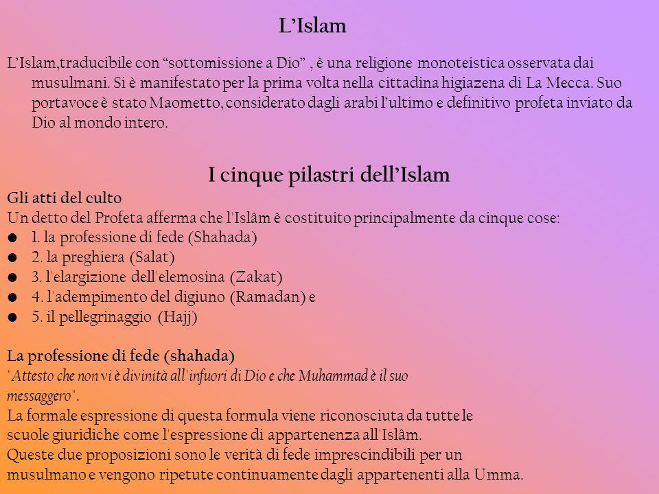 LIslam LIslam,traducibile con sottomissione a Dio, è una religione monoteistica osservata dai musulmani. Si è manifestato per la prima volta nella cit
