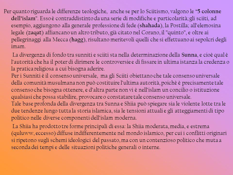 Per quanto riguarda le differenze teologiche, anche se per lo Sciitismo, valgono le 5 colonne dellislam. Esso è contraddistinto da una serie di modifi