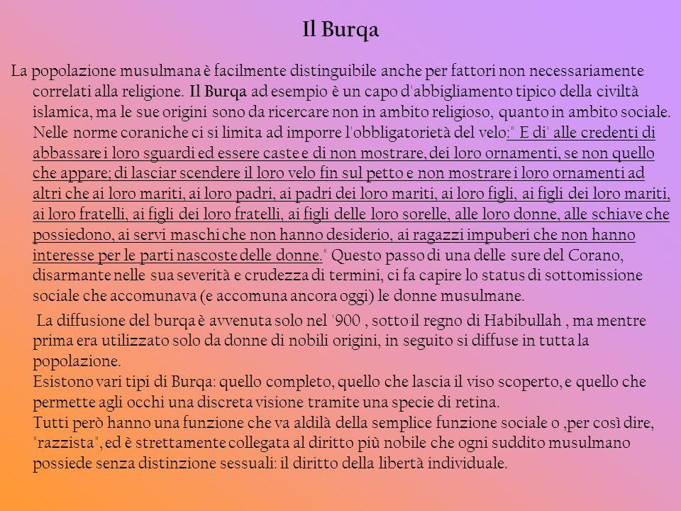 Il Burqa La popolazione musulmana è facilmente distinguibile anche per fattori non necessariamente correlati alla religione. Il Burqa ad esempio è un