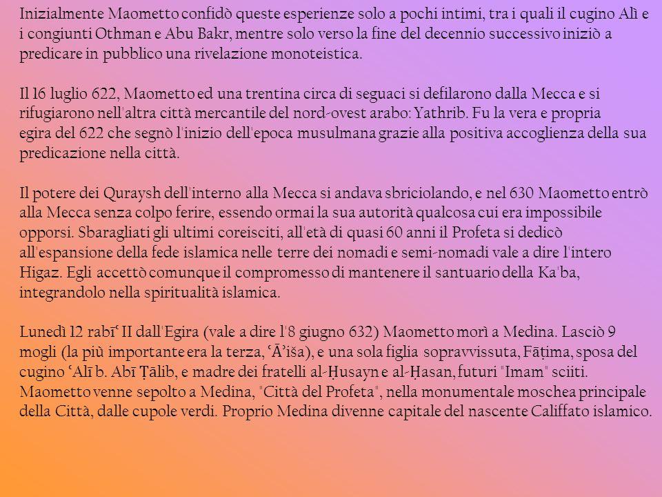 Inizialmente Maometto confidò queste esperienze solo a pochi intimi, tra i quali il cugino Alì e i congiunti Othman e Abu Bakr, mentre solo verso la f