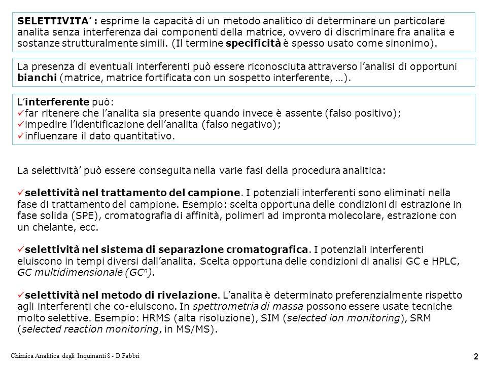 Chimica Analitica degli Inquinanti 8 - D.Fabbri 23 Metodi di ionizzazione in HPLC.