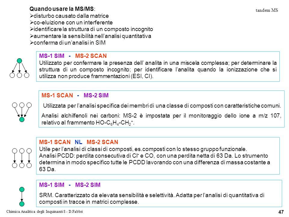 Chimica Analitica degli Inquinanti 8 - D.Fabbri 47 Quando usare la MS/MS: disturbo causato dalla matrice co-eluizione con un interferente identificare la struttura di un composto incognito aumentare la sensibilità nellanalisi quantitativa conferma di unanalisi in SIM MS-1 SIM - MS-2 SCAN Utilizzato per confermare la presenza dell analita in una miscela complessa; per determinare la struttura di un composto incognito; per identificare lanalita quando la ionizzazione che si utilizza non produce frammentazioni (ESI, CI).