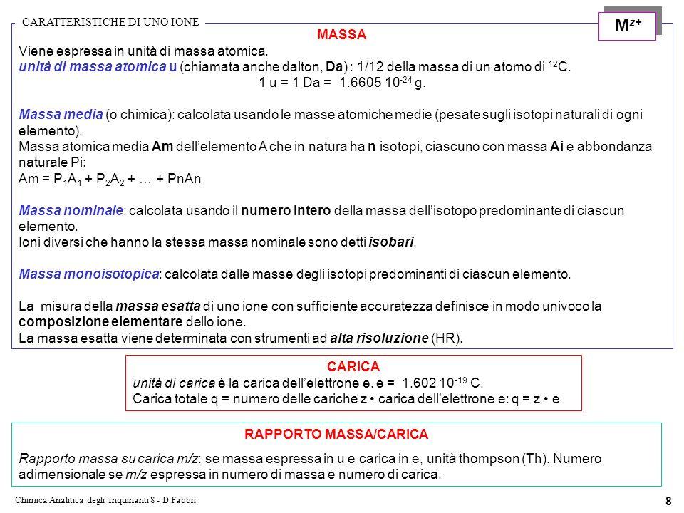 Chimica Analitica degli Inquinanti 8 - D.Fabbri 8 MASSA Viene espressa in unità di massa atomica.