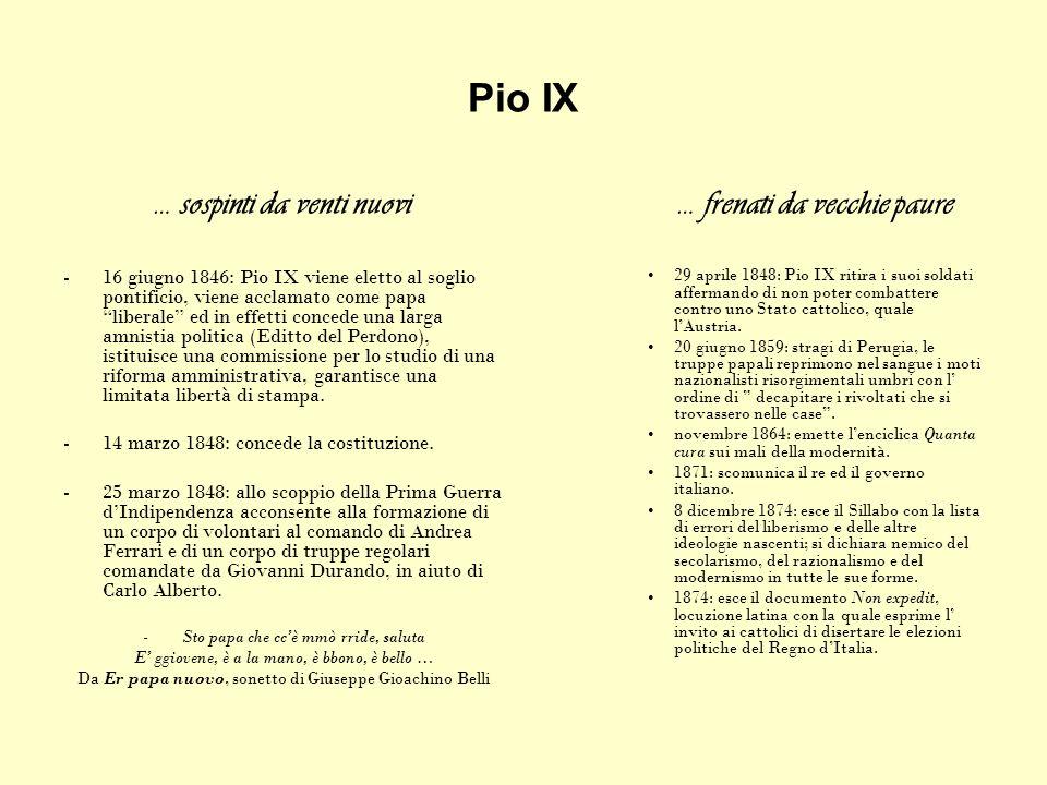 Pio IX … sospinti da venti nuovi -16 giugno 1846: Pio IX viene eletto al soglio pontificio, viene acclamato come papa liberale ed in effetti concede u