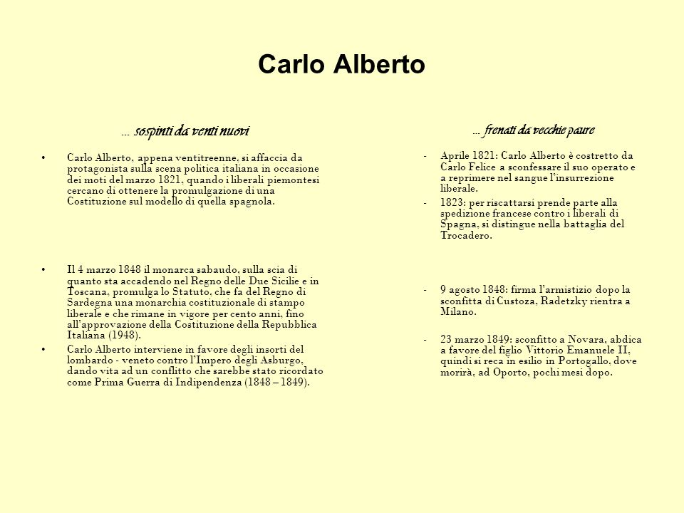 Carlo Alberto … sospinti da venti nuovi Carlo Alberto, appena ventitreenne, si affaccia da protagonista sulla scena politica italiana in occasione dei