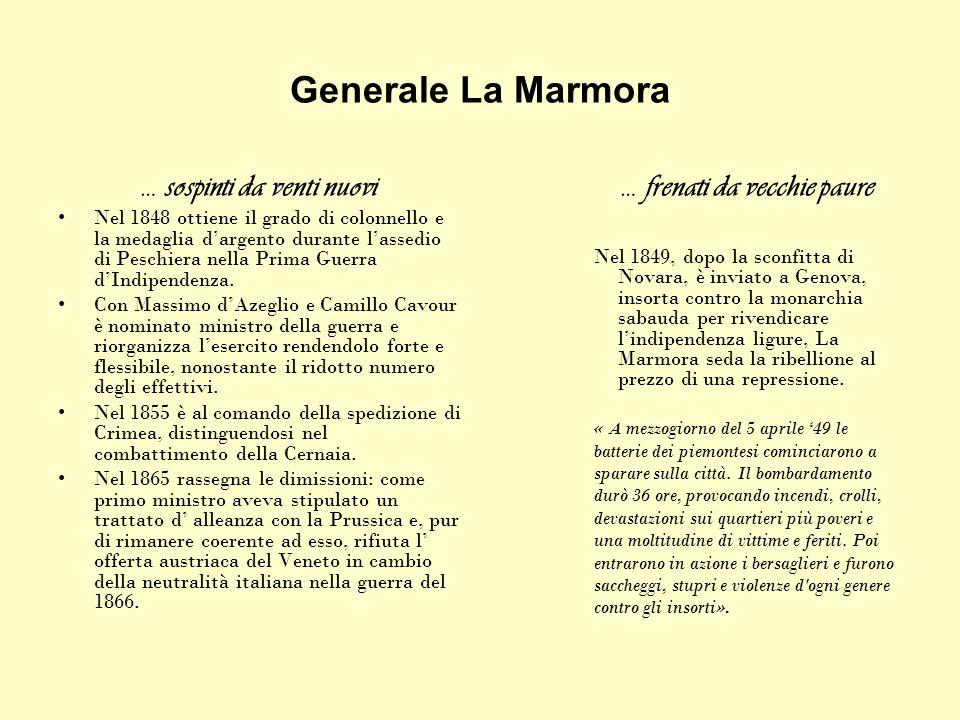 Generale La Marmora … sospinti da venti nuovi Nel 1848 ottiene il grado di colonnello e la medaglia dargento durante lassedio di Peschiera nella Prima