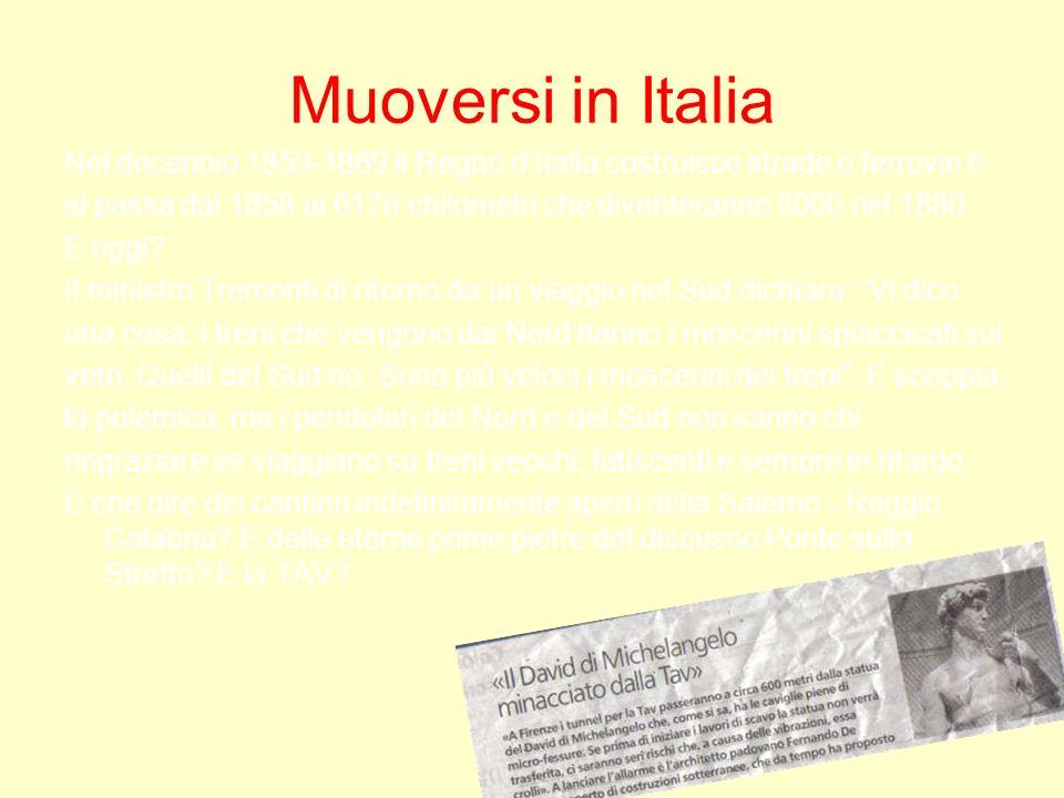 Muoversi in Italia Nel decennio 1859-1869 il Regno dItalia costruisce strade e ferrovie e si passa dai 1858 ai 6176 chilometri che diventeranno 8000 n