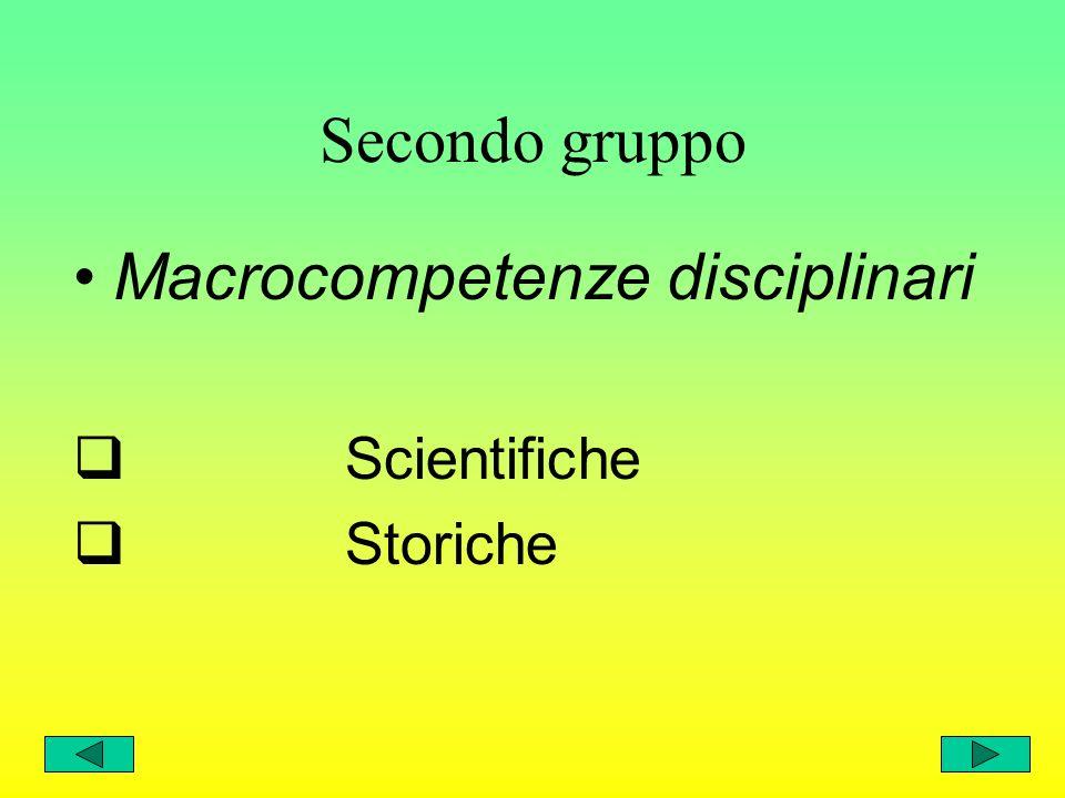 Primo gruppo Macrocompetenze cognitive Linguistiche Logico-matematiche