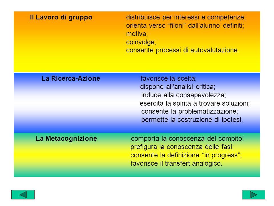 Ecco, dunque, una metodologia centrata su alcune cerniere, su alcuni capisaldi certi, i cui sviluppi potranno avvalersi della specificità di ciascuno: Il Lavoro di gruppo La Ricerca-azione La Metacognizione