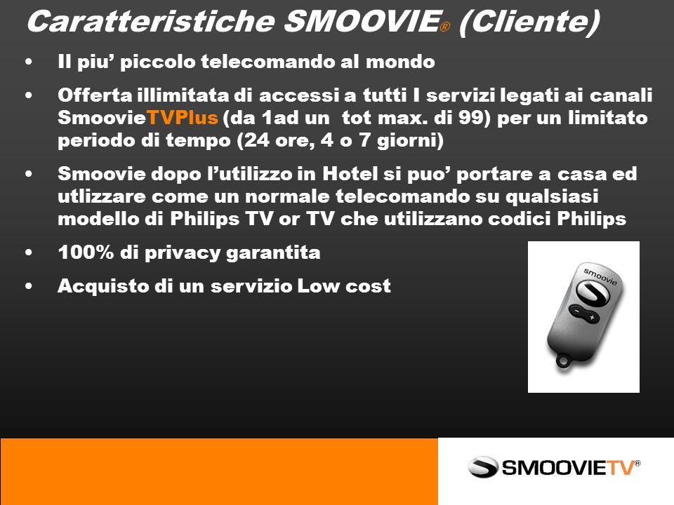 Caratteristiche SMOOVIE ® (Cliente) Il piu piccolo telecomando al mondo Offerta illimitata di accessi a tutti I servizi legati ai canali SmoovieTVPlus (da 1ad un tot max.