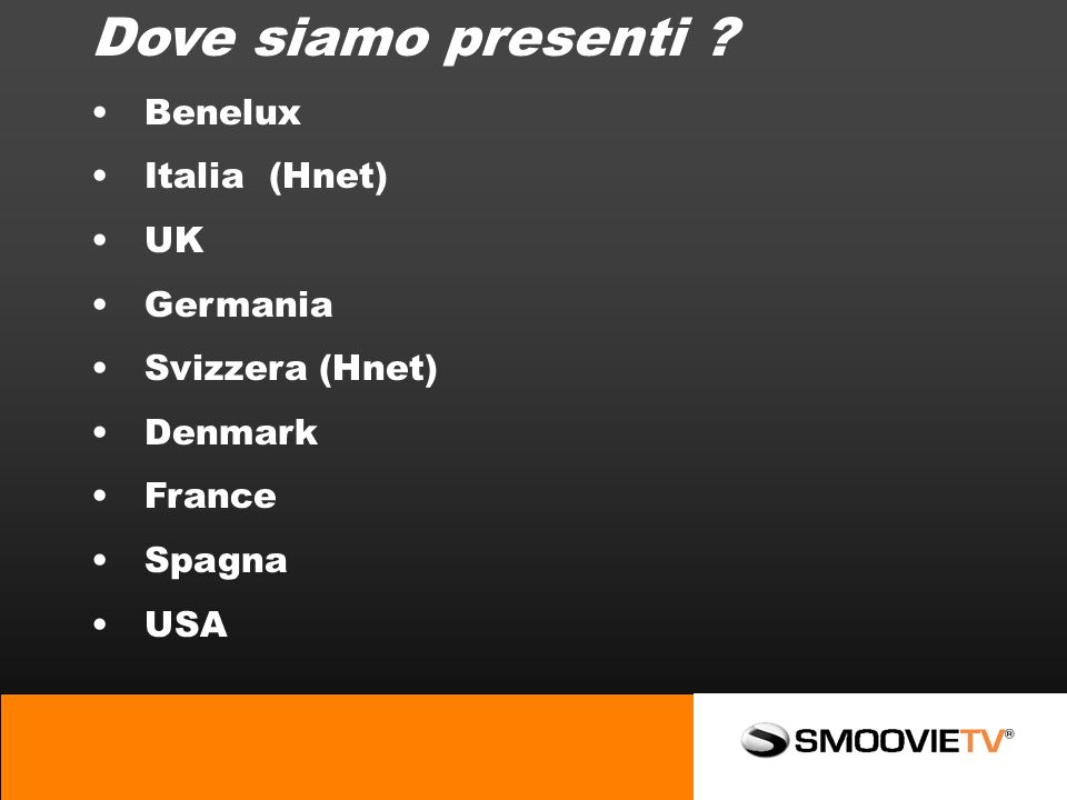Dove siamo presenti Benelux Italia (Hnet) UK Germania Svizzera (Hnet) Denmark France Spagna USA