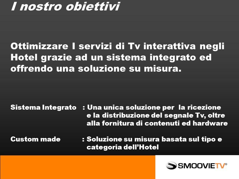 I nostro obiettivi Ottimizzare I servizi di Tv interattiva negli Hotel grazie ad un sistema integrato ed offrendo una soluzione su misura.