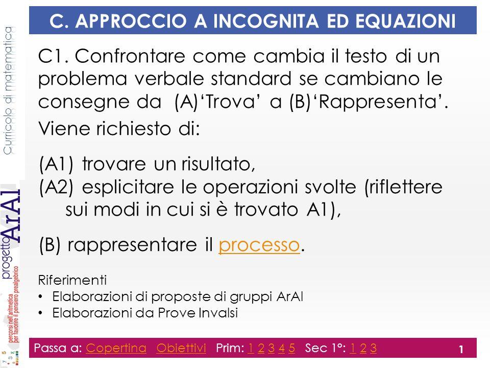 C. APPROCCIO A INCOGNITA ED EQUAZIONI C1.